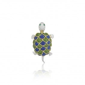 Yellow and White Gold Enamel and Diamond Turtle Brooch